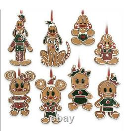 2020 Disney Parks Christmas Gingerbread Cookies Mickey & Friends Ornament Set