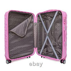 20/24/28 Small Large Suitcase Hard Shell Travel Trolley Hand Luggage Pink UK
