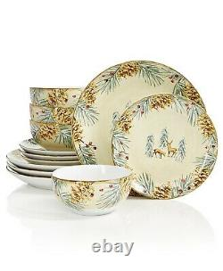 222 Fifth First Snow 12 Piece Holiday Dish Dinnerware Set