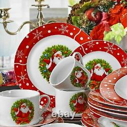 30-Piece Porcelain Christmas Pattern Dinner Combi-Set Dinnerware with Cup Saucer