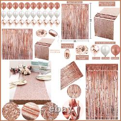 34Pc ROSE GOLD Party Decoration Set Table Runner Foil Curtain Confetti Ribbon &