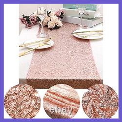 35Pc ROSE GOLD Party Decoration Set Table Runner Foil Curtain Confetti Ribbon &