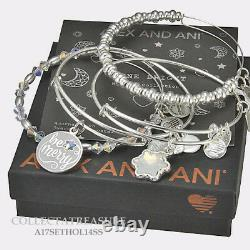 Authentic Alex and Ani Be Merry Set of 4 Shiny Silver Charm Bangle
