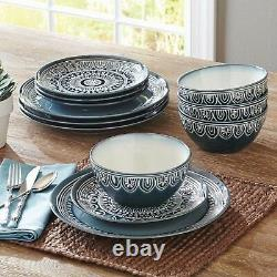 Christmas Dinnerware Set 24-Piece Dinner Plate Dishes Service for 8 Teal Medalli