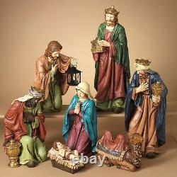 Deluxe Hand Painted 22.3 7 Piece Resin Nativity Set Christmas Holiday Decor