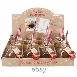 Festive Bauble Glasses With Novelty Straw Christmas Brand New Set of 6 Drinking