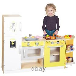 Kids Large Deluxe Modular Wooden Kitchen Set Pretend Role Play Toy Cooker Chef