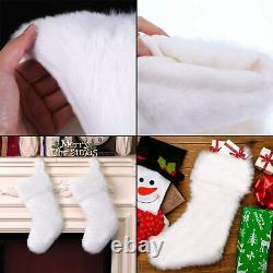 Large Set of 2 White Faux Fur Christmas Stockings 20 Xmas Hanging Presents NEW