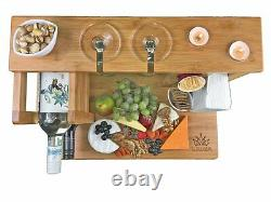 NEW All-In-One Top Cheese Board Serving Cutting Platter Tray Set Wood Bamboo