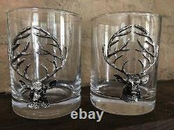 NEW Pottery Barn STAG Deer Medallion Double Old-Fashioned Glass Christmas Set 2