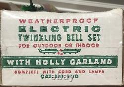NEW Vintage CHRISTMAS YULE GLO Electric Twinkling Bell Set Holly Garland