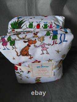 POTTERY BARN KIDS Seuss Grinch Who Stole Christmas 4pc Full Flannel Bedding Set