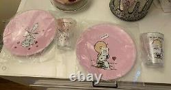 Pottery Barn Kids Valentines Day Peanuts Snoopy Plates Tumblers Cup Set gift new