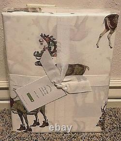 Pottery Barn Silly Stag QUEEN sheet set Christmas holiday DEER Reindeer
