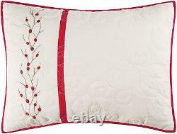 RED BERRY EMBROIDERED King QUILT SET GARDEN CHRISTMAS WREATH COMFORTER