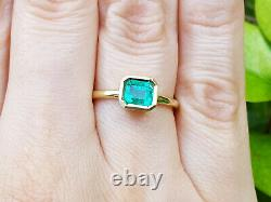 Solitaire Emerald Ring 14K Yellow Gold Bezel-Set Natural Colombian Emerald
