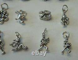 TINY Set of ALL Twelve 12 Days of Christmas Sterling Silver Charms