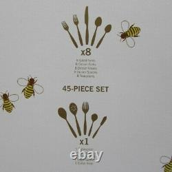 Wallace Napoleon Bee Gold Accent 18/10 Stainless Steel 45pc Flatware Set