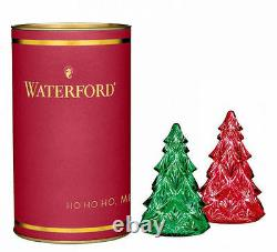 Waterford Crystal Giftology MINI CHRISTMAS TREES Red & Green SET / 2 NEW /BOX