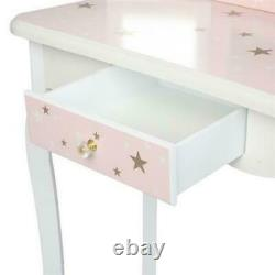 Wooden Kids Dressing Table &Stool Set Beauty With Mirror Drawer Best Gift For Xmas